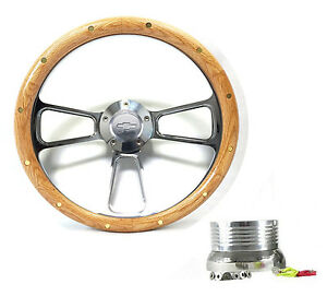 Oak Steering Wheel 1960 1969 K10 K20 K30 Pick Up Truck Chevy Horn Adapter Kit