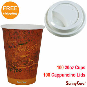 Sunnycare 100pcs 20 Oz Hot Coffee Paper Cups And 100pcs White Cappuccino Lids