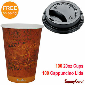 Sunnycare 100pcs 20 Oz Hot Coffee Paper Cups And 100pcs Black Cappuccino Lids