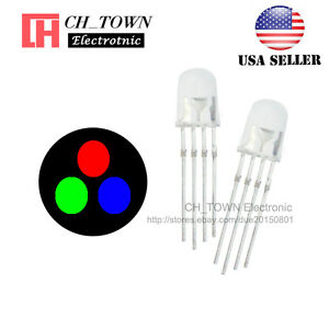 100pcs 5mm 4pin Common Anode Water Clear Rgb Tri color Red Green Blue Led Diodes
