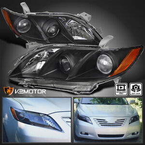 For Toyota 2007 2009 Camry Crystal Black Jdm Amber Projector Headlights Pair