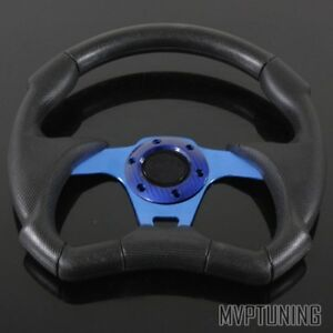 320mm Black Pvc Leather Blue Spoke Combat Jet Style 6 Bolt Racing Steering Wheel