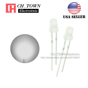 100pcs 3mm Diffused White Color White Light Round Top Led Emitting Diodes Usa