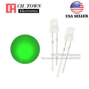 100pcs 3mm Diffused White Color Green Light Round Top Led Emitting Diodes Usa
