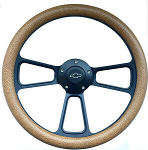 1960 1969 Chevy C10 C20 C30 Truck 14 Tan Snakeskin Black Steering Wheel Kit
