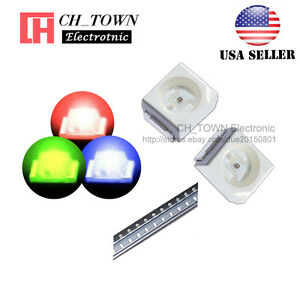 100pcs Smd Smt Plcc 2 1210 3528 rgb Red Green Blue Light Common Anode Led Diodes