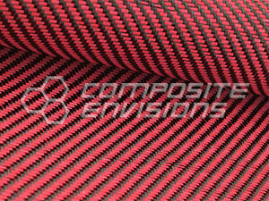 Carbon Fiber Red Dyed Fiberglass Fabric 2x2 Twill 50 3k 12 53oz 425gsm