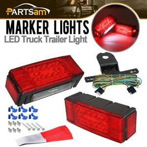 Waterproof Trailer Rv Rectangle Led Light Kit Red Stop Turn Tail Brake Over 80