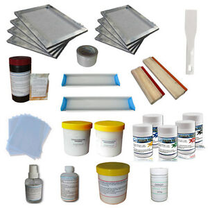 4 Color Screen Printing Materials Kit Pigment Squeegee Stretch Frame Hnad Tools