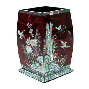 Mother Of Pearl Inlay Square Desktop Pen Pencil Brush Wooden Cup Case Box Holder