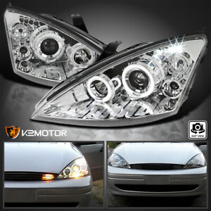 Fits 2000 2004 Ford Focus Led Dual Halo Rims Clear Projector Headlights Lamps