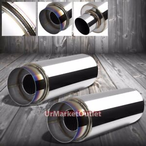 2x 3 Inlet 4 5 Burnt Tip silencer Universal Round Steel Body Exhaust Muffler