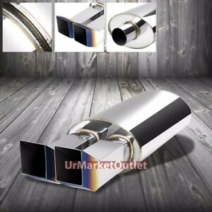 2x Ss 2 50 Inlet 2 3 8 Dual Burnt Bent Tip Stainless T304 Oval Exhaust Muffler