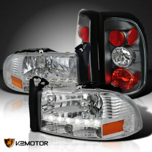 For 1997 2004 Dodge Dakota Clear Led Drl Strip Headlights black Tail Lamps