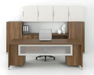 Quad 84 Modern Executive Office Desk With Storage Towers And Hutch Set