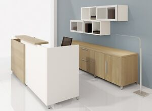 Quad 72 Modern Reception receptionist Office Desk With Storage Set