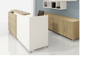Quad 84 Modern Reception receptionist Office Desk Shell With Transaction Shelf