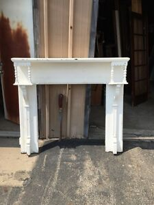M 36 Antique Oak Fireplace Mantel Painted Carved With Galleries