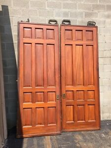 D2 26 One Pair Antique Cherry Pocket Doors 80 Inch Wide By 105 Hi
