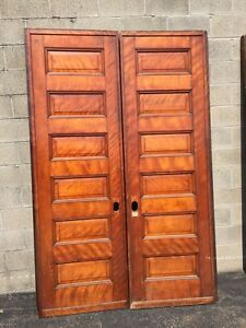 D 128 One Pair Antique Cherry Pocket Doors No Hardware