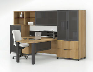Quad Modern L shape Office Desk With Bookcases Storage And Hutch Set