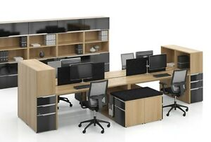 Nex Modern Office Workstation Cluster Of 4 With Open Bookcases And Storage