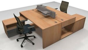 Nex Modern Office Workstation Cluster Of 2 With Low Storage Units And Bookcase