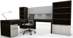 Nex Modern L shape Executive Office Desk With Storage And Bookcases