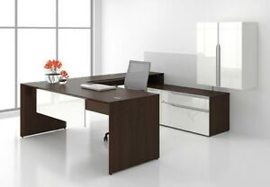 Nex Modern L shape Executive Office Desk Shell Storage And Hutch