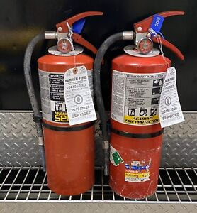 Set Of 2 Refurbished 10lb Abc Fire Extinguisher Certified Tag scratch dirty