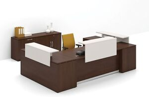 Morpheo 156 Modern U shape Reception receptionist Office Desk With Credenza