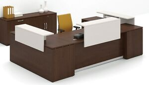 Morpheo 144 Modern U shape Reception receptionist Office Desk Shell With Shelf