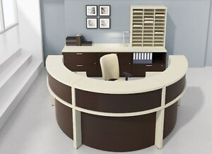 Morpheo 126 Modern Curve Reception receptionist Office Desk With Credenza