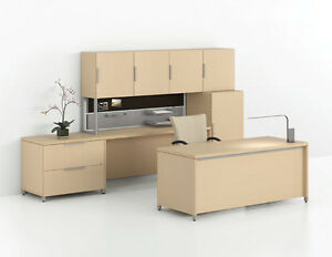 Morpheo Modern Executive Office Desk Shell With Credenza Hutch And File