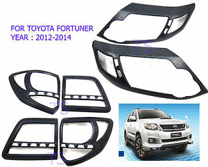 Set Carbon Front Rear Light Lamps Cover Fit Toyota Fortuner Suv 4x4 2012 13 15