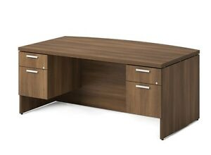 Morpheo 72 Modern Bow front Executive Office Desk With Pedestals