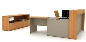 Morpheo 96 Modern L shape Reception receptionist Office Desk Shell Credenza