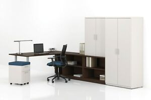 Morpheo 72 Modern L shape Executive Office Desk Shell Credenza And Bookcase