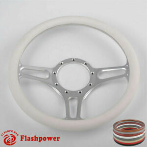 14 Universal Billet Aluminum 9 Hole Steering Wheel W White Leather Wrap