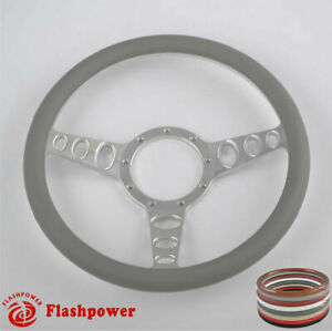 14 Billet Steering Wheel Light Gray Wrap Muscle Car Gm Gto Firebird Bonneville