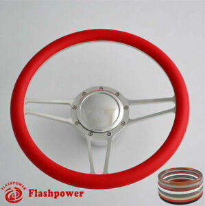 14 Billet Steering Wheels Red Half Wrap Muscle Car Chevette Brookwood Biscayne