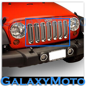 Triple Chrome Plated 7pc Grille Cover Insert Mesh Shell For 07 17 Jeep Wrangler