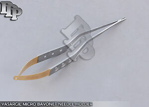 Yasargil Micro Bayonet Needle Holder 8 Neuro Surgical Instruments Gold Handle
