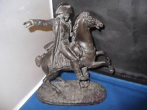 Napoleon On Horseback Antique Statue 10 Tall Bronze Or Bronzed Metal