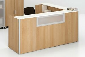Concept 3 144 Modern L shape Reception receptionist Office Desk With Shelf