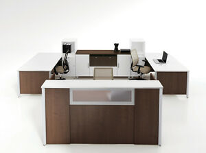 Concept 3 84 Modern Reception receptionist Office Desk And Two 72 Desk Shells