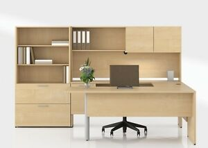 Concept 300 Modern Executive Office Desk Shell With Credenza And Bookcase