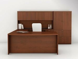 Concept 70 Modern L shape Bow front Executive Office Desk Hutch And Storage
