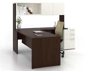 C a Modern White L shape Executive Office Desk With Pedestal And Hutch