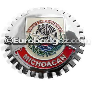 1 New Chrome Front Grill Badge Mexican Flag Spanish Mexico Medallion Michoacan
